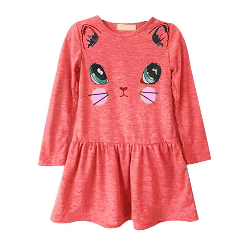 Long Sleeve Printed Solid Color Dress for Toddlers Girls