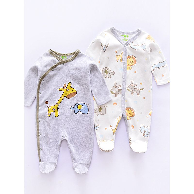 Kiskissing Buttoned Cotton Jersey 2-Pack Rompers Jumpsuits Set for Babies wholesale kids clothing
