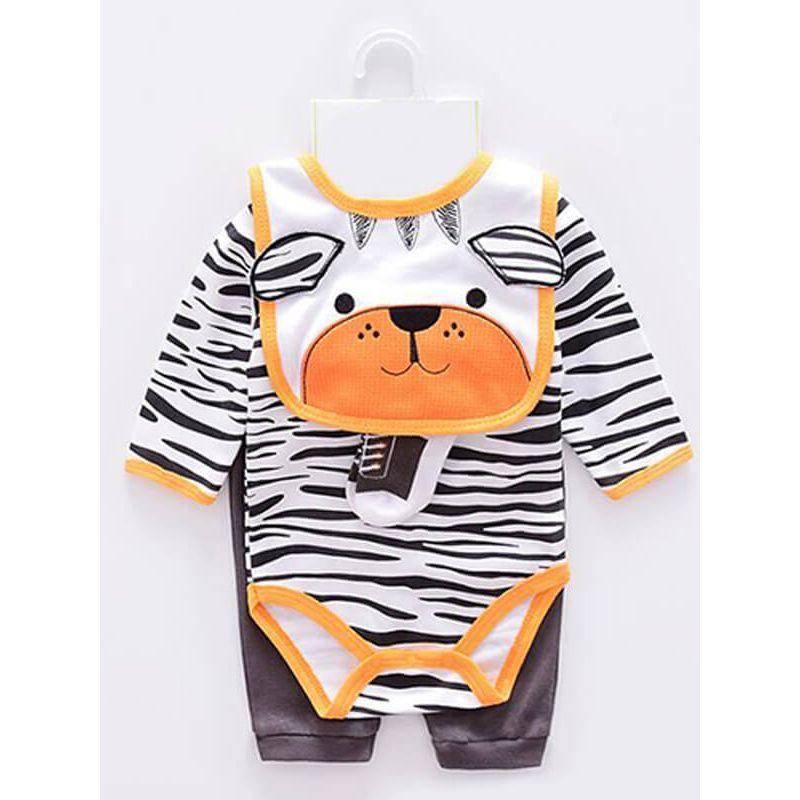 Kiskissing 4-piece Cute Cartoon Animal Romper Pants Bib Socks Set Bodysuit Long-sleeve for Babies wholesale childrens clothing