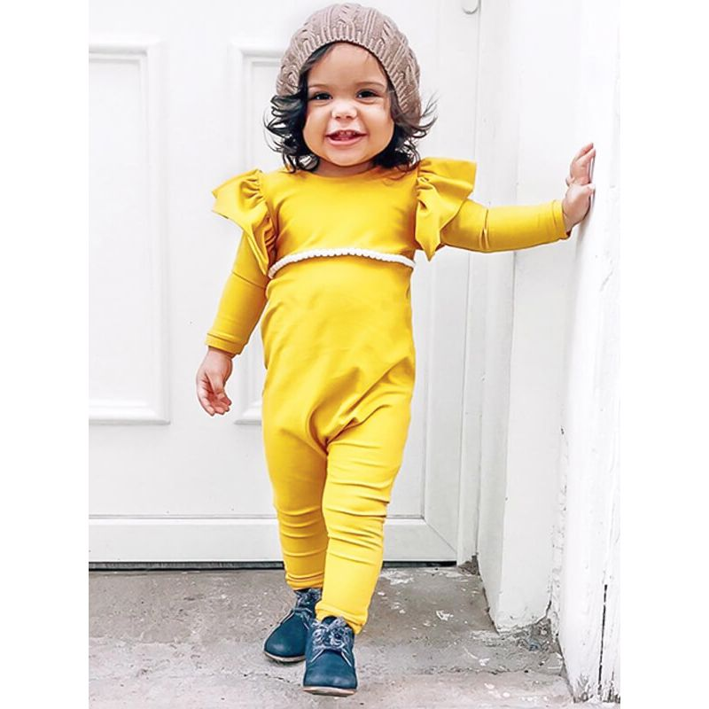 Kiskissing yellow Long Sleeve Buttoned Romper Jumpsuit for Baby Girls the model show wholesale baby clothes