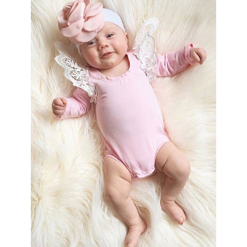 Kiskissing Long Sleeve Cotton Lace Solid Color Romper for Baby Girls the model show wholesale childrens clothing