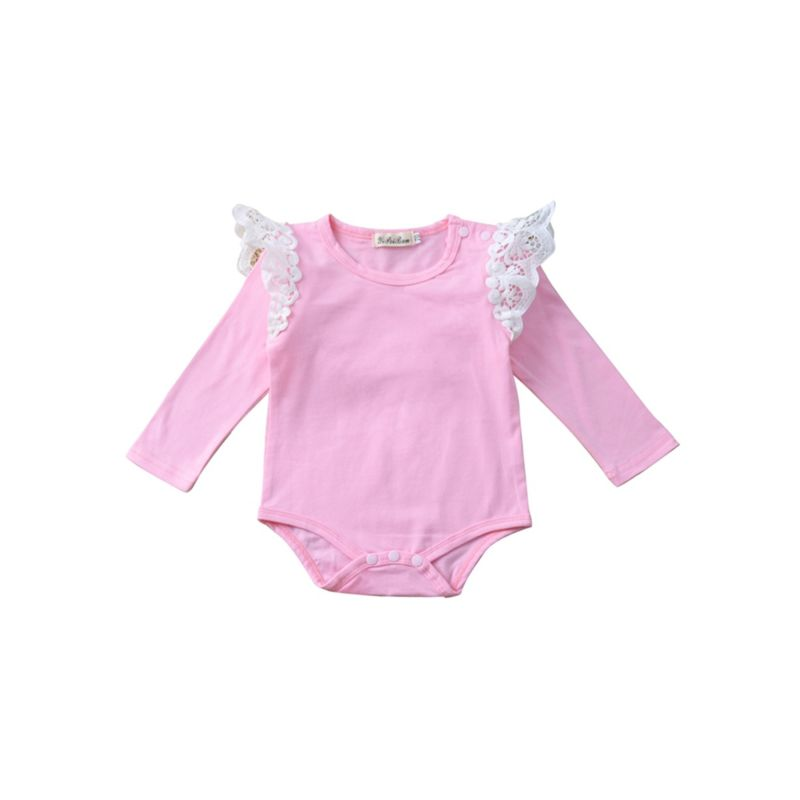 Long Sleeve Cotton Lace Solid Color Romper for Baby Girls