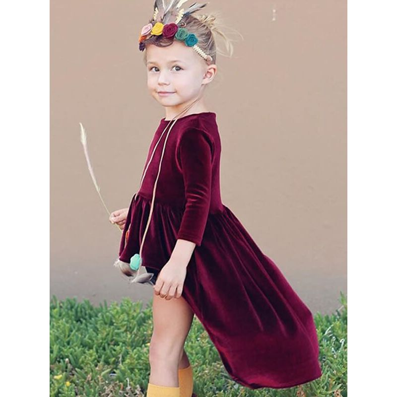 Kiskissing Long Sleeve Asymmetrical Party Dress for Baby Toddler Girls the model show wholesale princess dresses