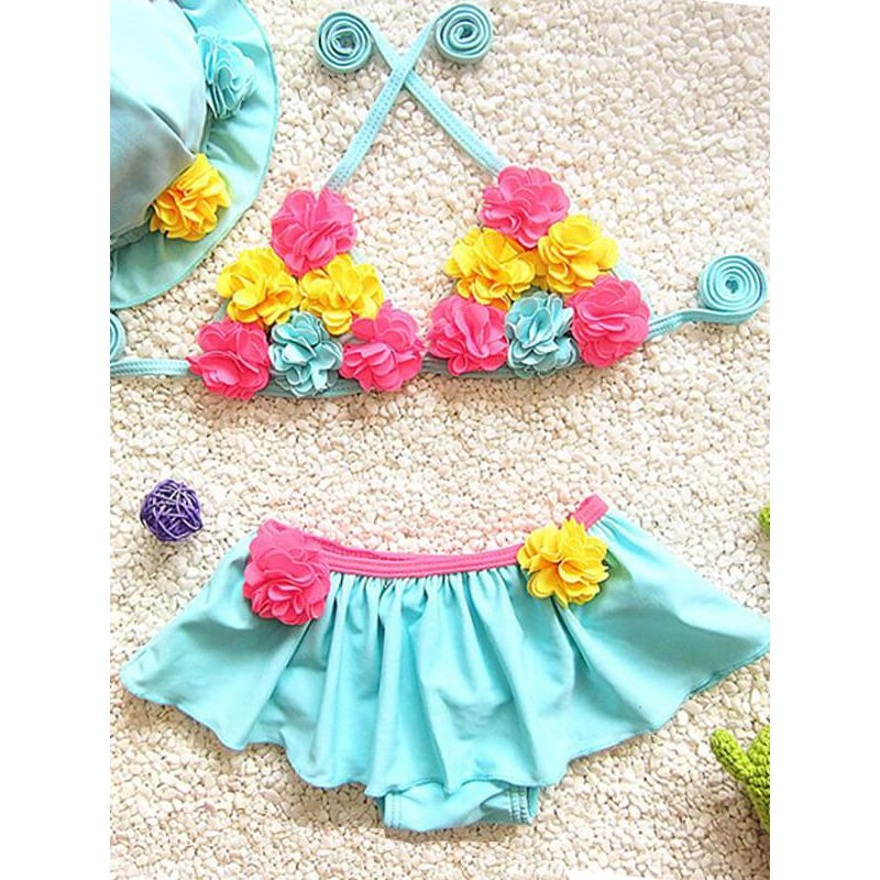 Kiskissing 3-piece blue Flowers Appliqued Swimwear Set for Babies Toddlers Girls the obverse side wholesale girls clothing