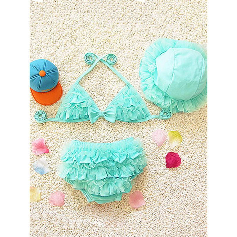 Kiskissing 3-piece green Bikini Hat Bra Shorts Swimwear Set for Babies Toddlers Girls wholesale kids clothing