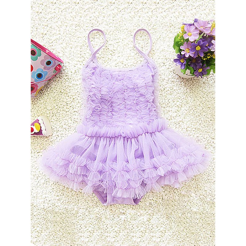 Kiskissing Tutu Style Straps Mesh One-piece Swimwear for Babies Toddlers Girls swimsuits wholesale kids clothing
