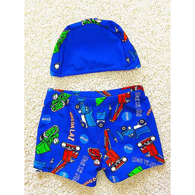 Kiskissing 2-piece deepblue Cartoon Pattern Printed Elastic Cap Swimwear Set for Toddlers Boys wholesale kids clothing