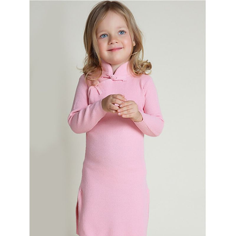 Kiskissing pink Jersey Cheongsam Party Dress for Baby Toddler Girls the model show wholesale kids clothing