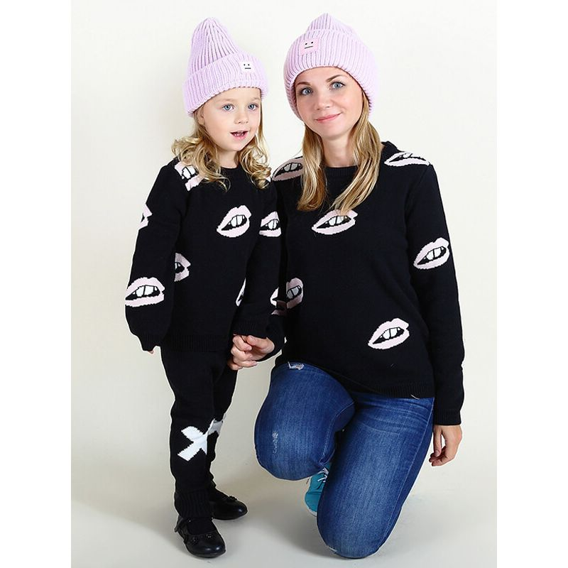 Kiskissing mom and me Cute Long Sleeve Knitted Pullover Sweater Top for Baby Toddler Boys Girls family matching clothes
