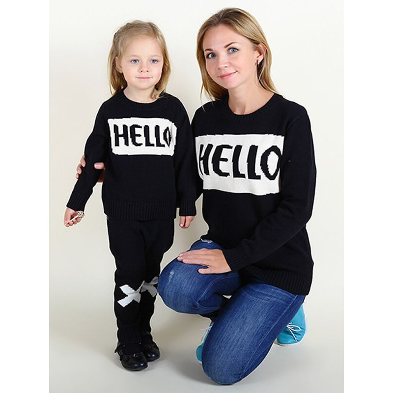 Kiskissing mom and me Knitted Pullover Sweater Top for Babies Toddlers Boys Girls Mothers wholesale childrens clothing