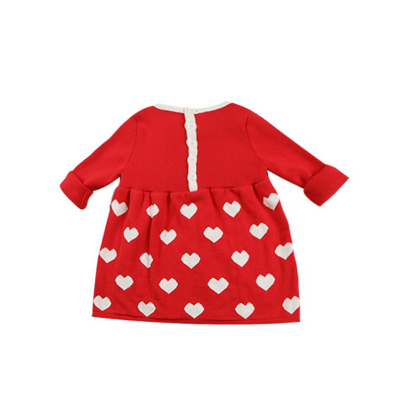 Kiskissing Long Sleeve Cute Knitted Draped Dress for Baby Toddler Girls the reverse side wholesale baby dresses