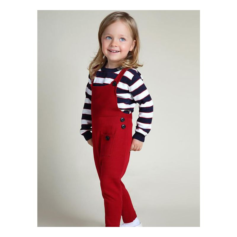 Kiskissing red Pockets Knitted Pants Jumpsuit Overalls for Baby Toddler Girls Boys the model show wholesale baby jumpsuits