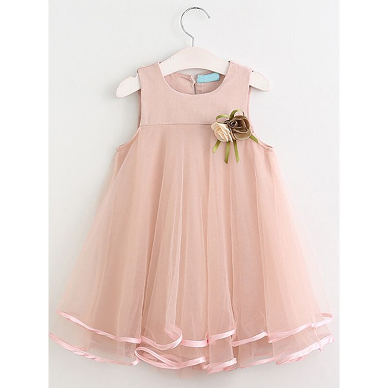 Kiskissing Sleeveless Big Hem Mesh Princess Party Dress for Toddlers Girls the obverse side wholesale princess dresses