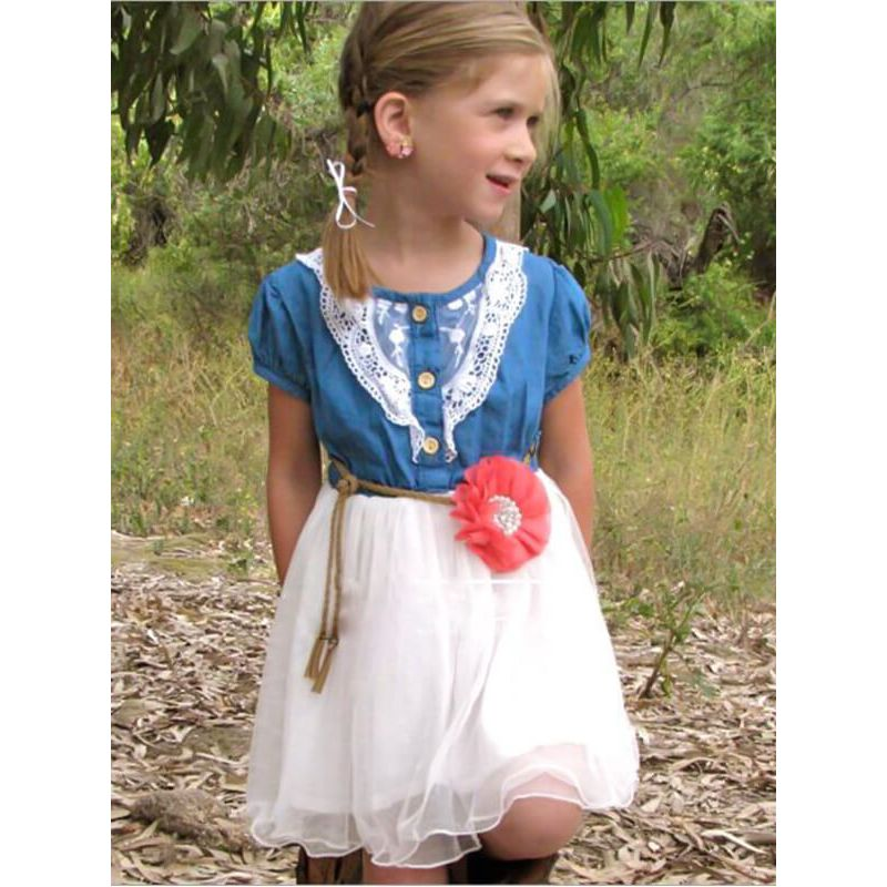 Kiskissing Paneled Denim Tutu Mesh Princess Dress for Toddlers Girls the model show wholesale princess dresses