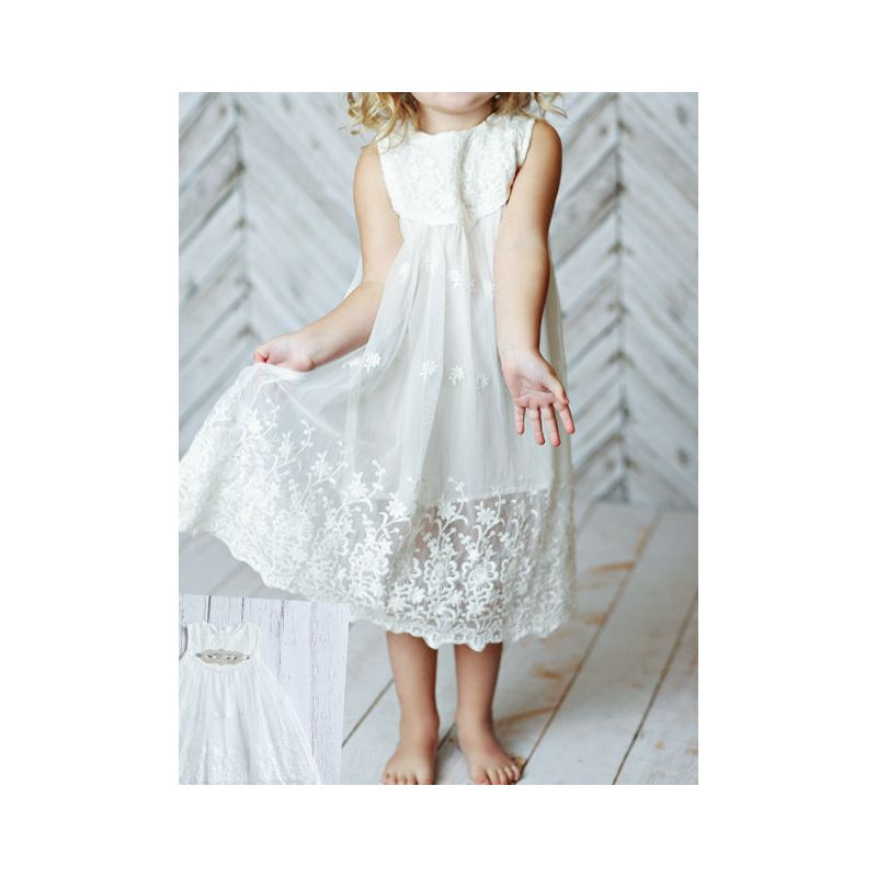 Summer Baby Girl Sleeveless Sequin Bowknot Flower Lace-trimmed White Dress