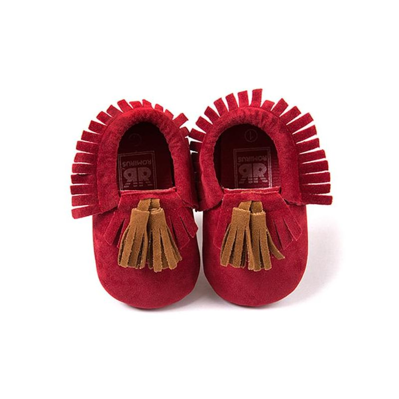 Kiskissing red Fringed Soft Nonslip Soles Cloth Walking Shoes for Babies wholesale baby shoes