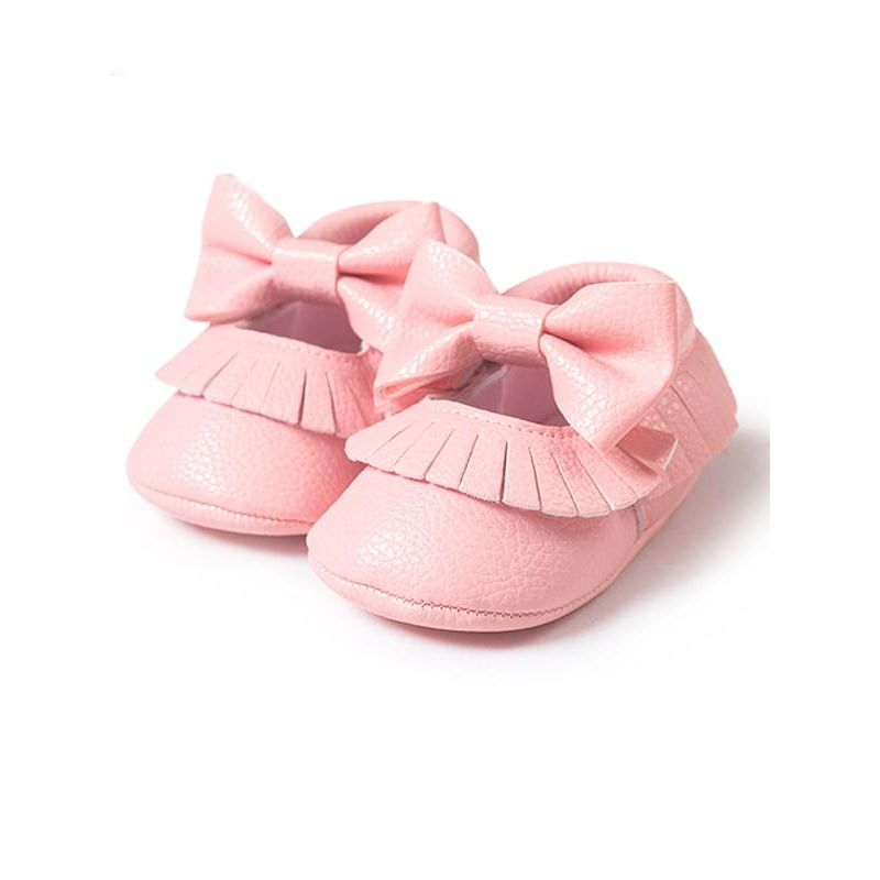 Kiskissing pink Artificial Leather Bowknot Velcro Nonslip Soles Pre-walking Shoes for Baby Girls