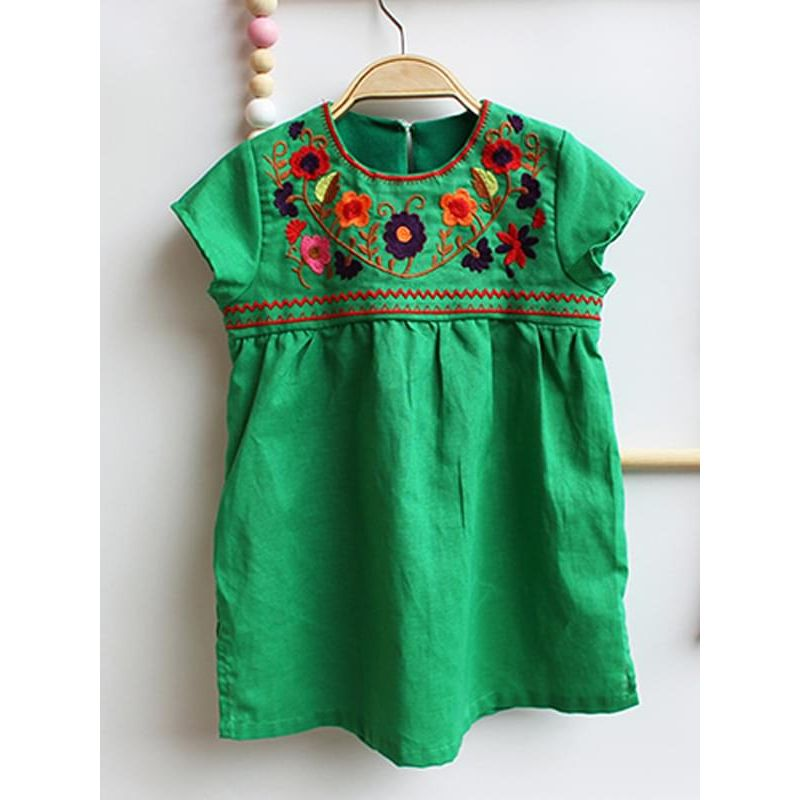 Kiskissing green Sleeveless Embroidery Flowers Dress for Toddlers Girls wholesale kids clothing