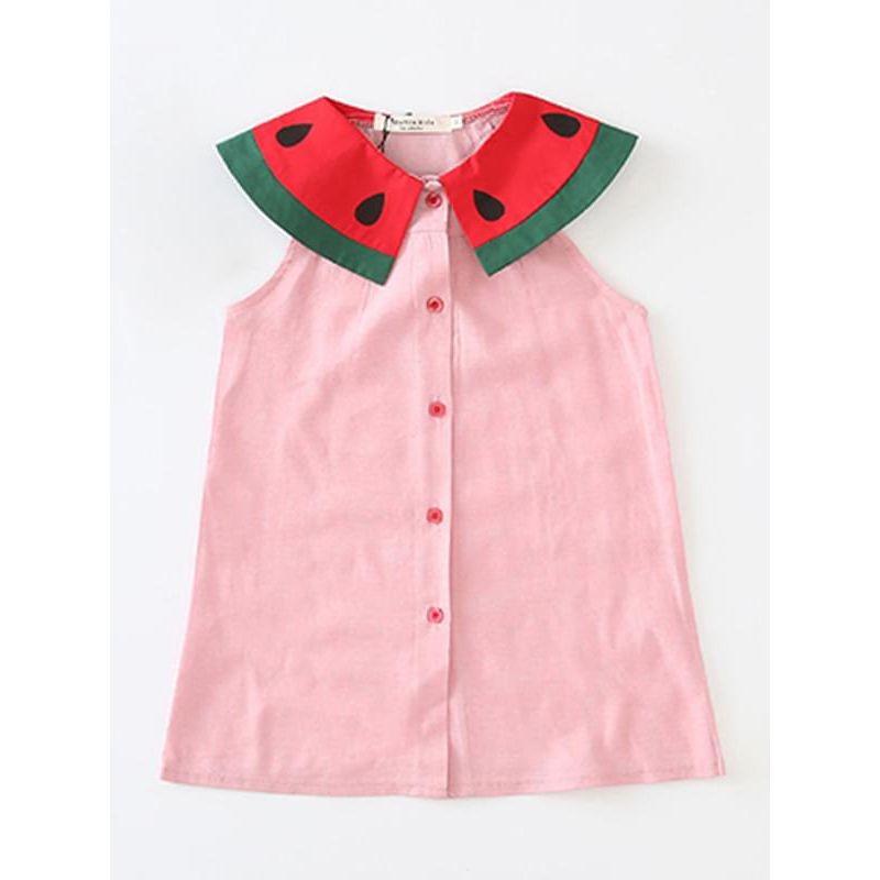 Watermelon Cotton Sleeveless Shirt Dress for Toddlers Girls