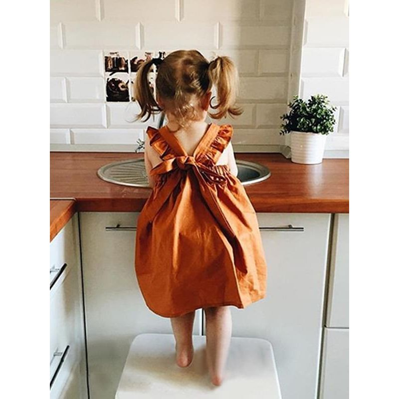 Kiskissing Pumpkin Color Bowknot Straps Cotton Dress for Baby Toddlers Girls the model show