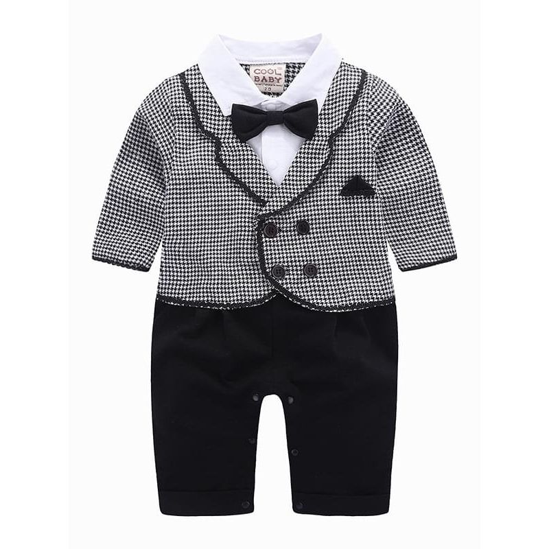 Kiskissing grey Bow Fake-2-Piece Romper Jumpsuit Suit for Baby Boys wholesale baby clothes