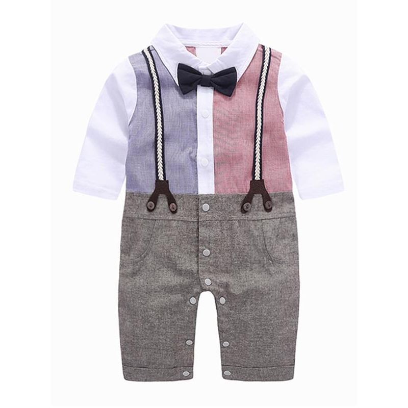 Bow Fake Straps Romper Jumpsuit Bodysuit Suit for Baby Boys