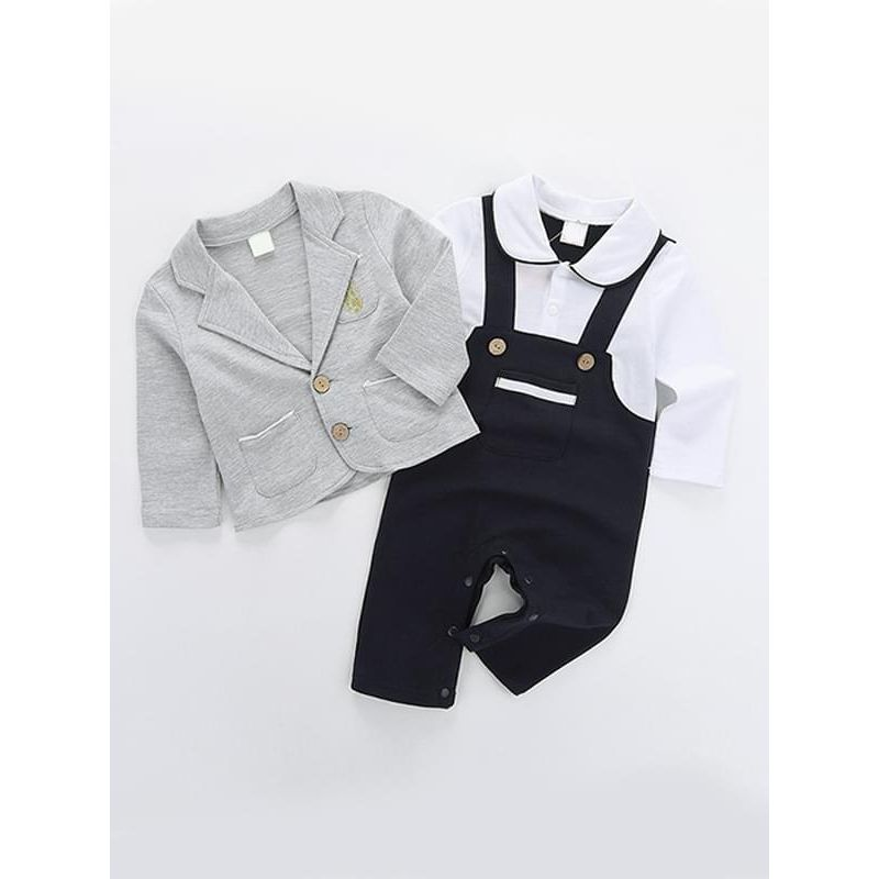 2-Piece Partywear Suit Romper Bodysuit for Baby Boys