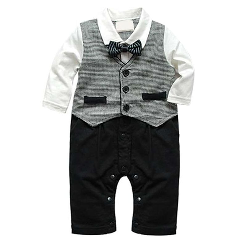 Long Sleeves Fake Vest Romper Bodysuit Suit for Baby Boys