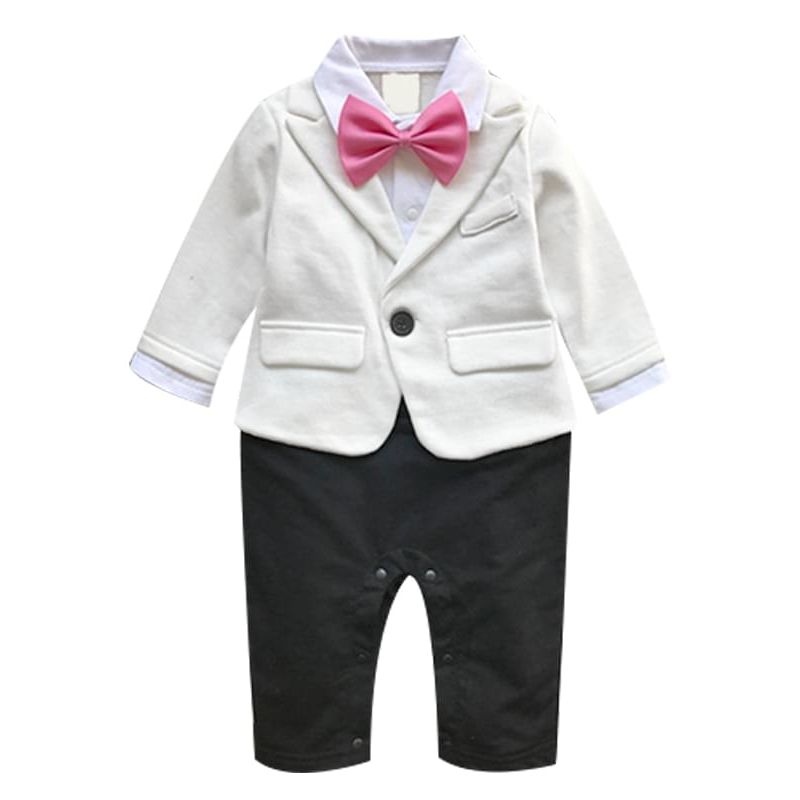One-Piece Bowknot Snaps Romper Jumpsuit Bodysuit Suit for Baby Boys