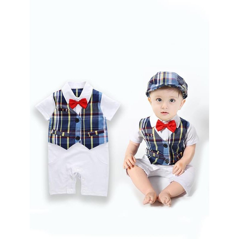 Bowknot Checked Romper Jumpsuit Hat 2-Piece Set for Baby Boys
