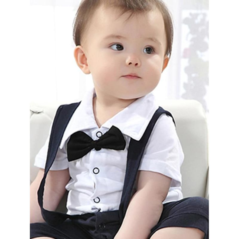 Bowknot Straps Short Sleeves Romper Jumpsuit for Baby Boys