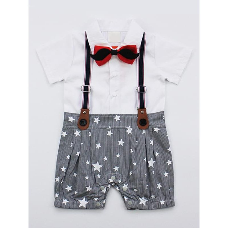 Bowknot Stars Straps Party Romper Jumpsuit for Baby Boys