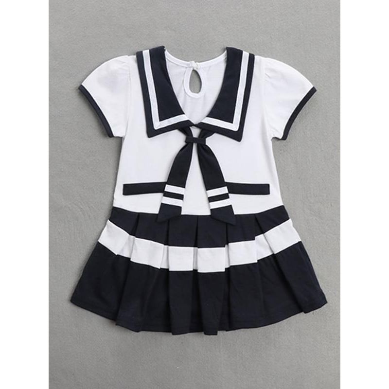 Kiskissing white School Style Printed Pullover Romper Dress for Baby Girls the obverse side wholesale baby clothes