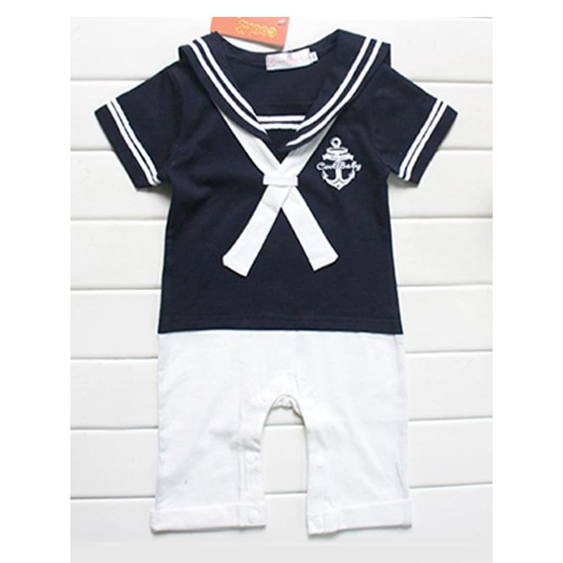 Kiskissing Pullover Navy Style Romper Jumpsuit Hat 2-Piece Set for Baby Boys the obverse side wholesale kids clothing set