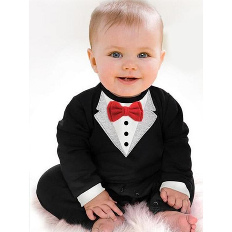 Kiskissing Bowknot Romper Jumpsuit Party Suit for Baby Boys the model show wholesale baby clothes