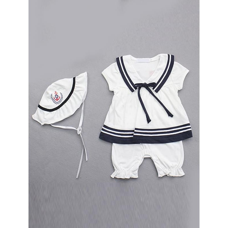 Kiskissing 2-Piece white Pullover Navy Style Romper Bodysuit Hat Set for Baby Girls kids the obverse side wholesale clothing set