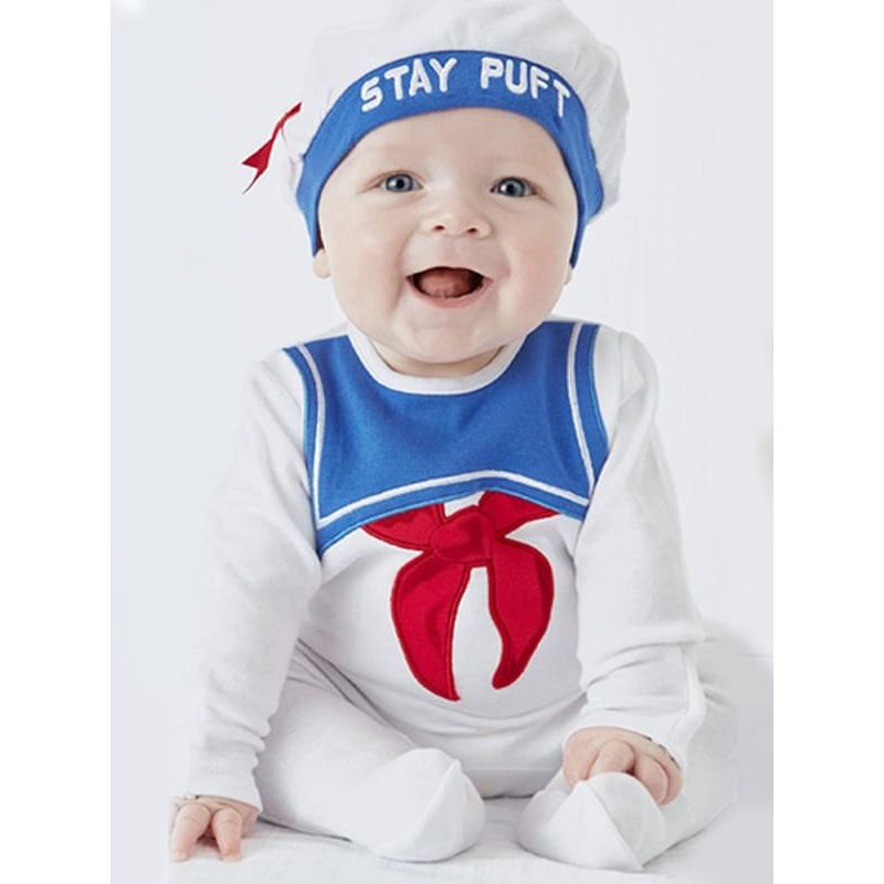Kiskissing Pullover Navy Romper Jumpsuit Hat 2-Piece Set for Baby Boys Girls the model show wholesale kids clothing