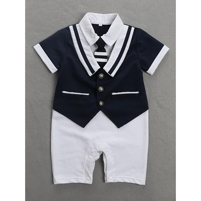 Kiskissing deepblue Snaps Short Sleeves Navy Romper Jumpsuit Suit for Baby Boys the obverse side wholesale baby onesies