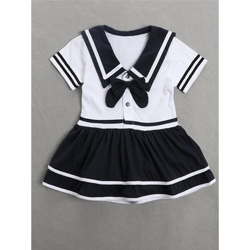 Kiskissing white Bowknot Short Sleeves Navy Romper Jumpsuit Dress for Baby Girls the obverse side kids wholesale clothing