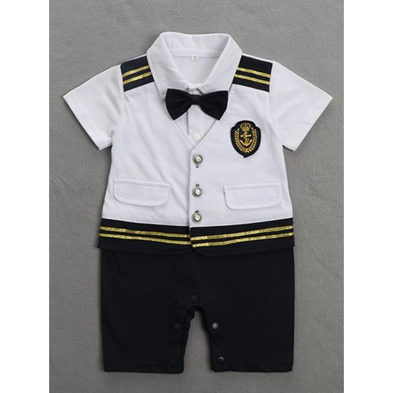 Kiskissing white Snaps Bowknot Short Sleeves Navy Romper Jumpsuit Party Wear for Baby Boys the obverse side wholesale baby onesies