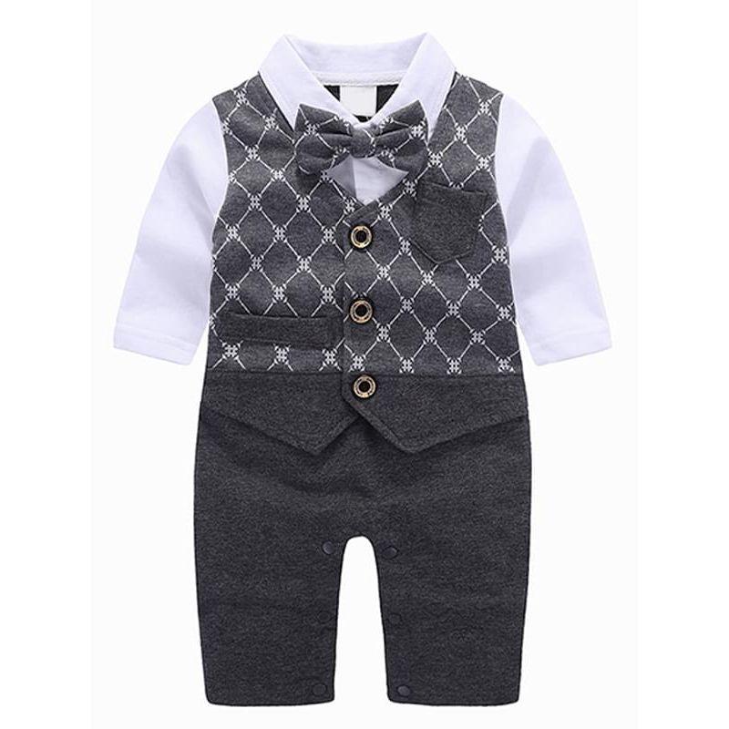 b2685c193826 Bowknot Fake Vest Romper Jumpsuit Suit Party Wear for Baby Boys