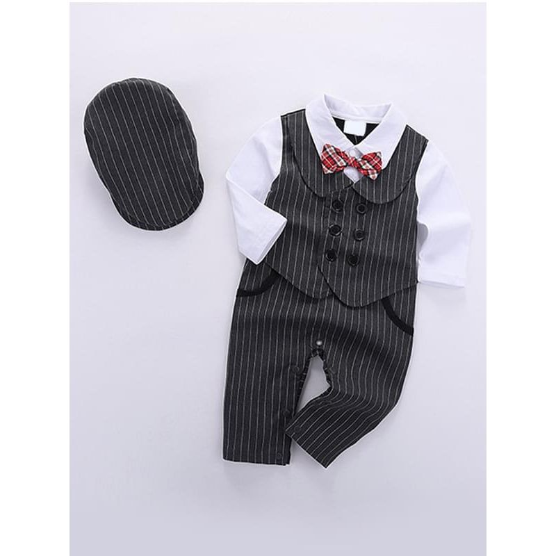 Kiskissing grey Snaps Romper Jumpsuit Party Wear Suit Hat 2-Piece Set for Baby Boys the obverse side wholesale children's boutique clothing