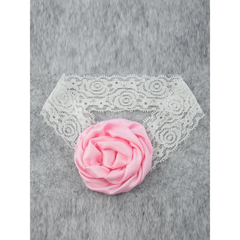 Kiskissing pink Rose Elastic Lace Headband for Baby Toddler Girls wholesale accessories