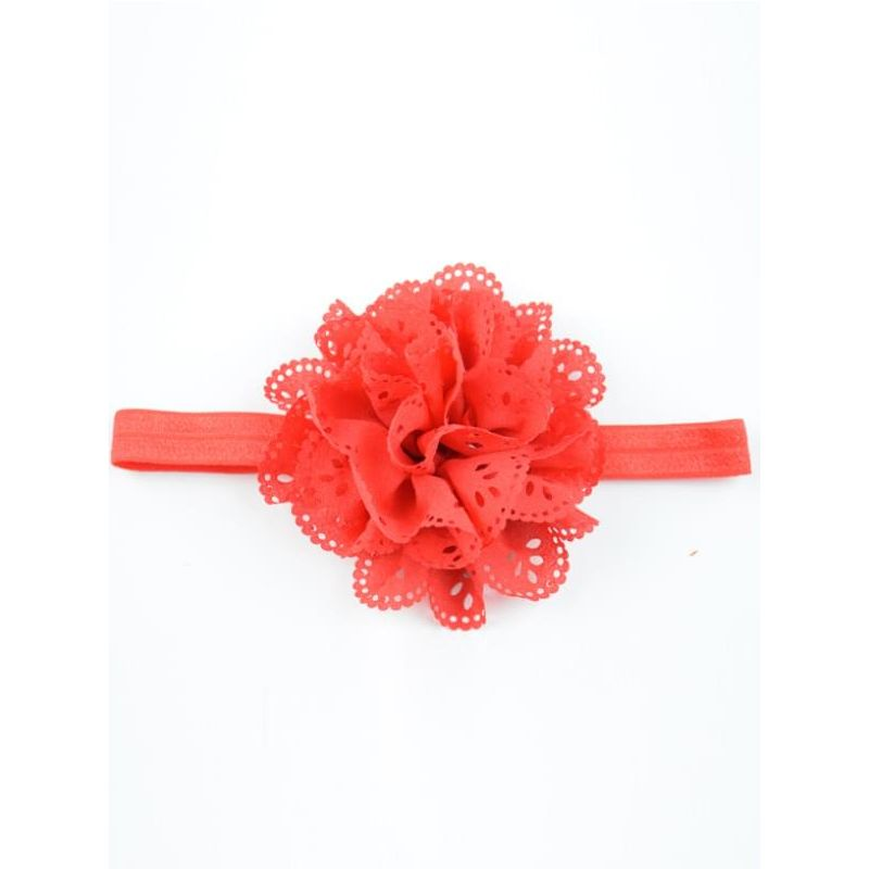 Kiskissing red Pierced Flower Elastic Headband for Baby Toddler Girls wholesale baby accessories