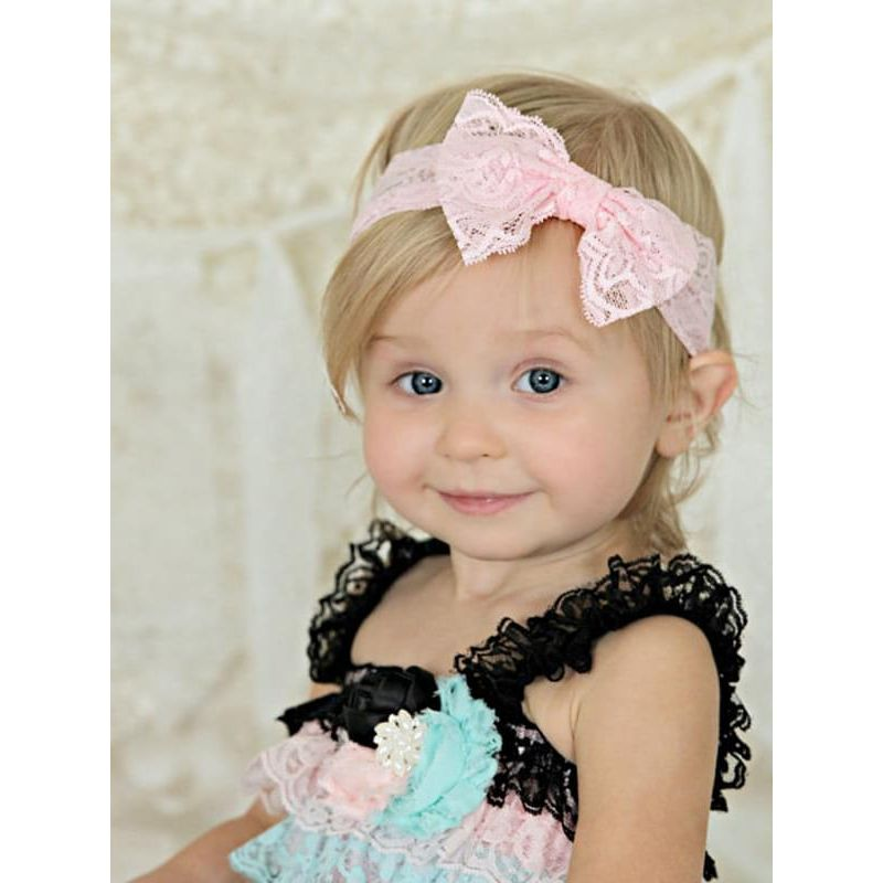 Pierced Elastic Lace Bowknot Headband for Baby Toddler Girls
