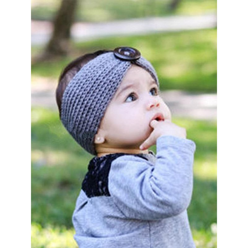 Kiskissing Pin Knitted Headband for Babies Toddlers Girls Boys the model show wholesale baby accessories