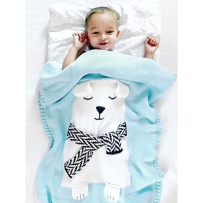 Kiskissing blue Cute White Bear Pattern Knitted Blanket for Babies Toddlers Boys Girls wholesale baby accessories the model show