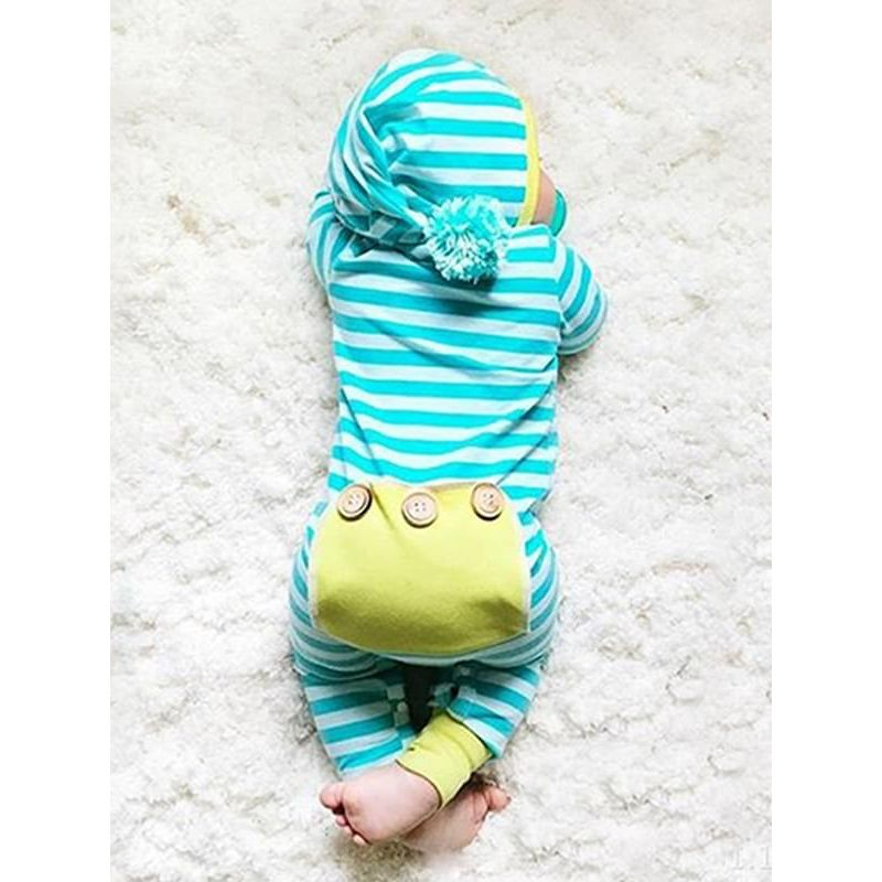 Kiskissing Cute Long-sleeve Stripes Hooded Snaps Romper Jumpsuit for Babies the model show wholesale baby clothes