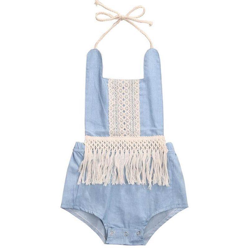Kiskissing blue Sleeveless Fringed Halterneck Denim Romper Bodysuit for Baby Girls wholesale baby onesies