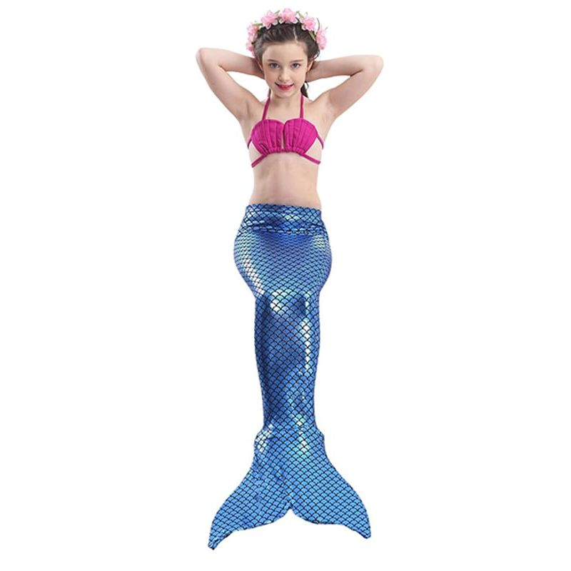Kiskissing 3-piece deepblue Mermaid Scale Swimwear Set Top Shorts Bottom for Girls the model show wholesale kids swimwear